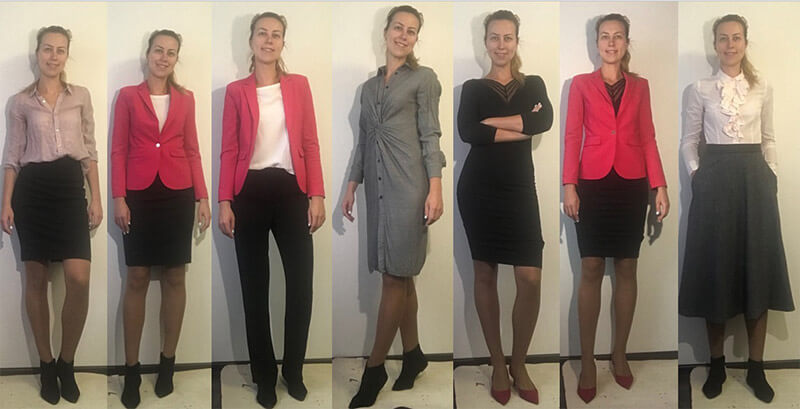 3b7a29c839289 Тут у нас 2 юбки, 1 брюки, 2 платья, 1 пиджак и 3 блузки. Одни ботинки,  одни туфли.